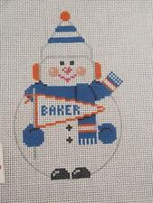 "HANDPAINTED 3"" x 4"" NEEDLEPOINT BAKER UNIVERSITY SNOWMAN ORNAMENT by DUPREE"