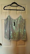 NEXT size 20 strappy sequinned festival party top in white