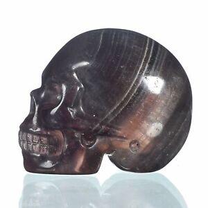 "1.57""Natural Rainbow Fluorite Carved Skull Metaphysic Healing Power #33M62"