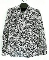 Chicos blouse no iron XL 16 black white animal print button front top size 3