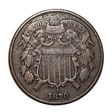 1870 Shield Two Cent Piece Coin, Very Fine (VF) Condition. Only 861,500 minted!