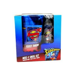 2 PIECE DC COMICS SUPERMAN MUG &SNUG SET-TRAVEL MUG & BLANKET FREE SHIPPING