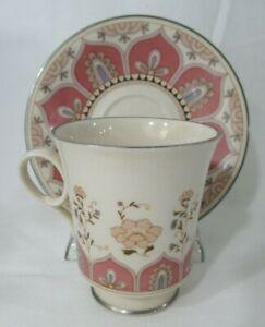 Franciscan Madrigal 1971-83 Cup & Saucer Set Pink Modern Moroccan Floral Design