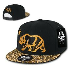 California Republic Black Leopard Gold Print Flat Bill Snapback Baseball Hat Cap