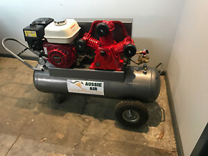 Petrol Compressor Australian Made 70L 18CFM Cast Iron pump 6.5HP Honda Motor