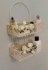VINTAGE STYLE CREAM WIRE SHELF BASKET STORAGE UNIT DISPLAY RACK BATHROOM KITCHEN