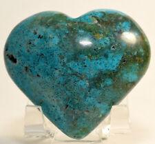 "2.3"" Chrysocolla Heart w/ Malachite Natural Blue Green Crystal Gemstone - Peru"