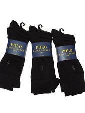 Polo Ralph Lauren men's 9 pair Solid Black soft crew dress Socks