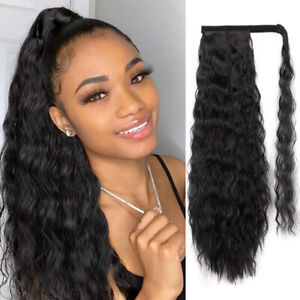 Magic Paste Ponytail Hair Extensions Synthetic Curly Wrap Around Black Ponytail