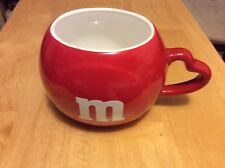 Red M&M Coffee Mug Cup With Heart Shape Handle