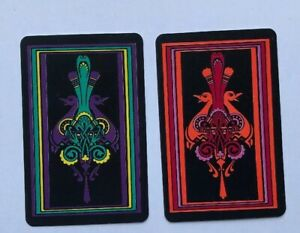 Vintage Peacock Art Swap Playing Card Pair, Deco Illustrations Pink Aqua Purple
