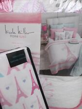 NICOLE MILLER Cynthia Rowley Kids 4pc Eiffel Tower Floral Quilt Sheets Set -Twin