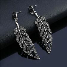 Bohemian Vintage Leaves Drop Earring Feather Dangle Ear Stud Jewelry