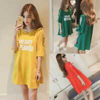 Korean Women Summer A Line Letters Cold Shoulder T-Shirt Loose Tunic Shift Dress