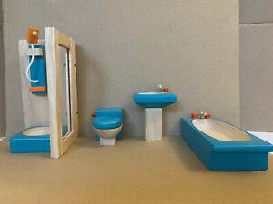 Plan Toys Wooden dolls house furniture set BATHROOM