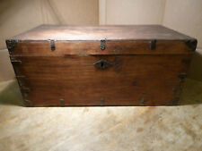 Rustic & Primitive Antique Stagecoach Trunk Cowboy Luggage Chest Lockbox