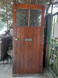 Large Victorian Farmhouse Pine Front Door With Original hinges and letterbox