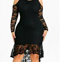 Ladies Black Off Shoulder Stretch Lace Midi Occasion Party Dress Size 14