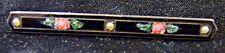 Antique Edwardian Mourning Black Bar Enamel Rose Sterling Silver Pearl Brooch