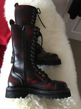 14 Hole Unisex Boots, Black & Red With Zip Size 8