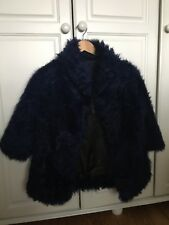 Topshop Brands Blue Sheepskin Jacket Size Xs
