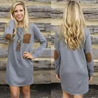 AU Stock Women Knit Wear Sweater Long Top Long Sleeve Jumper Mini Dress Pullover
