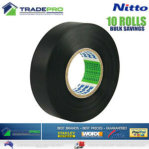 10x Rolls Nitto® Electrical Tape Black 18mm x 20m Insulation Denko Electric Bulk