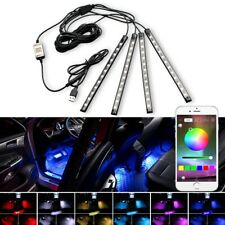 4X Bluetooth+Phone APP+USB Control Color LED Car Interior Atmosphere Neon Lights