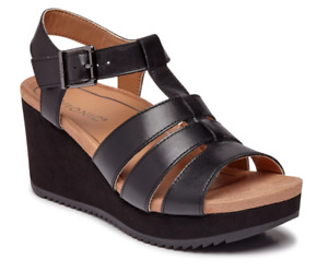 Vionic Tawny Black Platform Wedge Comfort Sandal Women's sizes 5-11 NEW