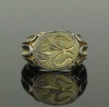 BEAUTIFUL ANCIENT MEDIEVAL SILVER GILT RING WITH FLEUR DI LIS - CIRCA 15TH C AD
