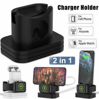 2 in1 Charging Dock Charger Stand Holder For Apple iWatch AirPods iPhone Station