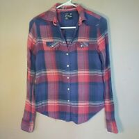American Eagle Womens Size XS Blue Pink Plaid Pearl Snap Shirt