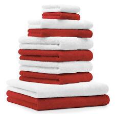 Betz 10-tlg. Handtuch-Set CLASSIC 100% Baumwolle weiß & rot
