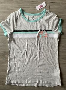 Justice Girls Knit V-Neck Tee-Shirt Top  Size 14 Gray  #GC3