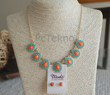 Turquoise & Coral Beaded Teardrop Statement Gold tone Necklace Earrings Set