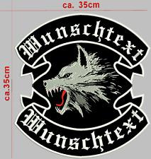 Wolf Rückenpatch Aufnäher oben unten-motiv Mit  Wunschtext Biker Kutte einteilig