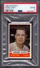 1962 Norm Cash Bazooka Baseball Card Hand Cut Graded PSA 2 Good (GD)