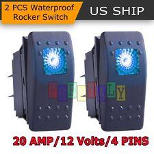 2x Blue S2 4Pin Waterproof 12V 20A Bar Rocker Toggle Switch LED Light Car Boat