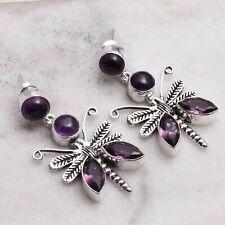 """Amethyst Handmade Drop Dangle Earrings Jewelry 1.8"""" AE 79947"""