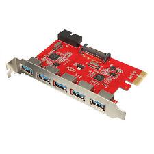Card 5 Ports PCI-E USB 3.0 HUB 20 Pin 15Pin SATA Adapter Red ED