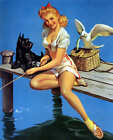 RETRO PINUP GIRL QUALITY CANVAS Print 45cm Poster Gil Elvgren Fishing Fail