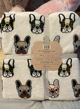 "French Bulldog Queen size Oversized Plush Blanket 90"" x 90"" New"