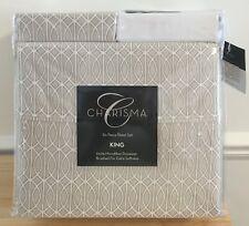 New Charisma King 6pc Sheet Set 100% Microfiber Polyester Beige Pattern Lattice