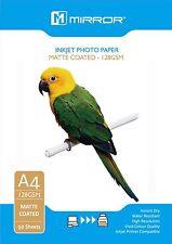 50 FOGLI CARTA FOTOGRAFICA OPACA a4 128gsm-a Getto D'Inchiostro Compatibile