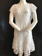 "BNWT POLO RALPH LAUREN White Lace Effect Cap Sleeve Dress Chest 34"" Length 37"""