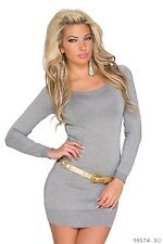 Minikleid Kleid Long Pulli Pullover Kettenschnürung Kette Grau 34 36 38 S M