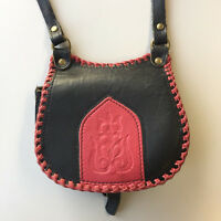 ⭐Tulip Leather Bag Cross Body Embossed w Hungarian Motif Black & Red Scalopped