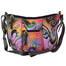 'Hand Painted Leather Shoulder Handbag 'Midnight Thrill' Large NOVICA Art India