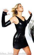 Black Latex Rubber Mini Dress 16 - 18  2nds Grade  BIN