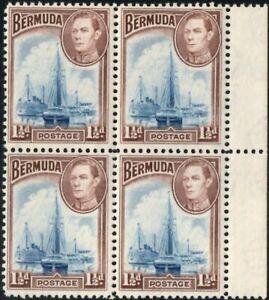 Bermuda 1938 KGVI 1.5d Deep Blue & Purple-Brown Block of 4 SG.111 Mint (Hinged)